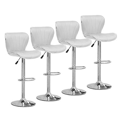 Huisen Furniture Set of 4 White Kitchen Bar Stools Chairs PU Leather Adjustable for Breakfast Counter Pub Shell Shape Stool with Footrest Backrest Upholstered Seat