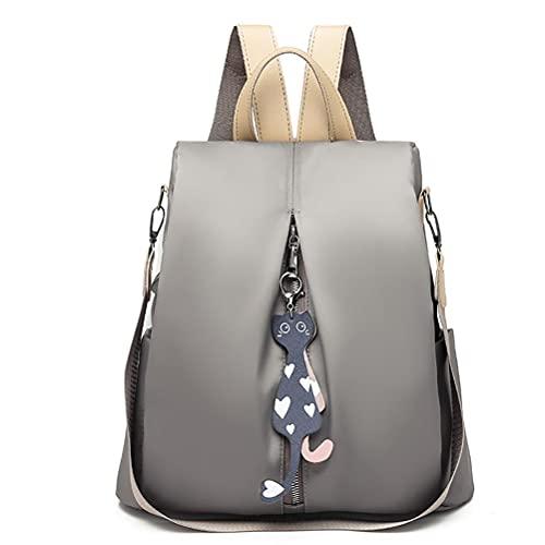 Brteyes Mochila de ocio de moda para mujer, mochila de color sólido con lindo colgante de gato, bolsa de viaje de gran capacidad, mochila de ocio impermeable de tela Oxford, gris claro, L