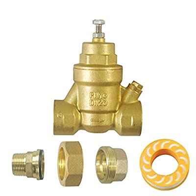 "GRELWT 3/4"" Water Pressure Reducing Brass Valve, Water Pressure Regulator, Union Regulator, Lead Free by GRELWT"