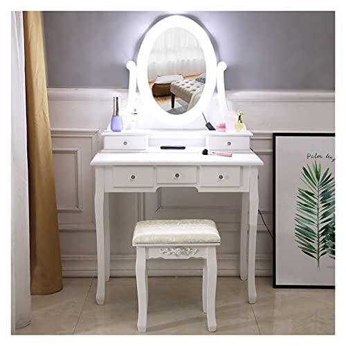 liangzishop Tocador Tocador Blanco con Bombilla única,Espejo y 5 cajones,31.5 L x 15.75 WX 55.51h Mesa de Maquillaje (Color : White)