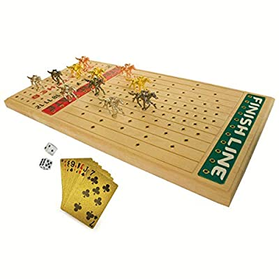 FINENI Horse Racing Board Game with Luxurious Durable Metal Horses, 11 Pieces , 1 Design & 4 Colors (3 Gold, 3 Silver, 3 Black and 2 Bronze), Real Birch Wood Horseracing Game Board, Golden Card & Dice
