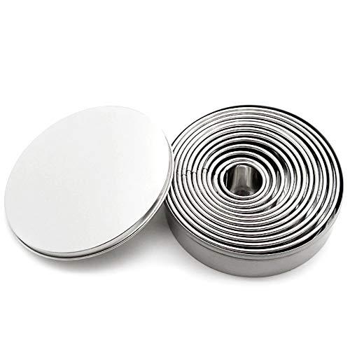 kitchen-dream 12 pièces Rondes en Acier Inoxydable Cutter Cookie Set Cookie Moule avec boîte de Rangement