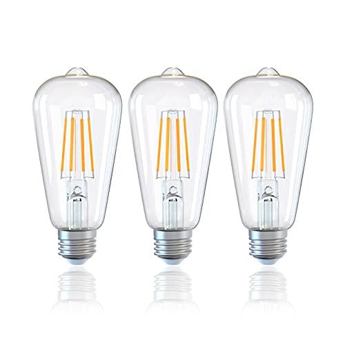 DGE 3er-Pack E27 LED Lampes ST64 4W, Ersatz 40W Halogen, 470Lm 2500K Warmweiß Glas LED Filament Lampe, CE/RoHS-zertifiziert, für Restaurant,Café,Bar, Nicht Dimmbar[Energieklasse A++]