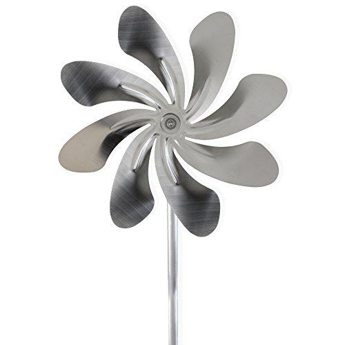 steel4you A1007 XXL Windrad Windmühle Speedy40 Plus aus Edelstahl (40cm Rotor-Durchmesser), kugelgelagert, mit Windfahne (360° Grad drehbar) - Made in Germany (225cm)