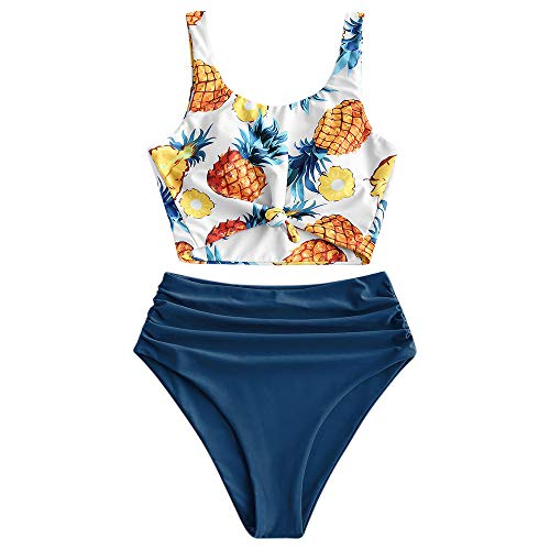 ZAFUL Damen Ananas Print High Waisted Bikini Badeanzug Set Blau M