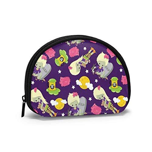Borsa a portafoglio piccola con portamonete di Halloween Zombie Borsa con cerniera per borse cosmetiche mi-ni per donna