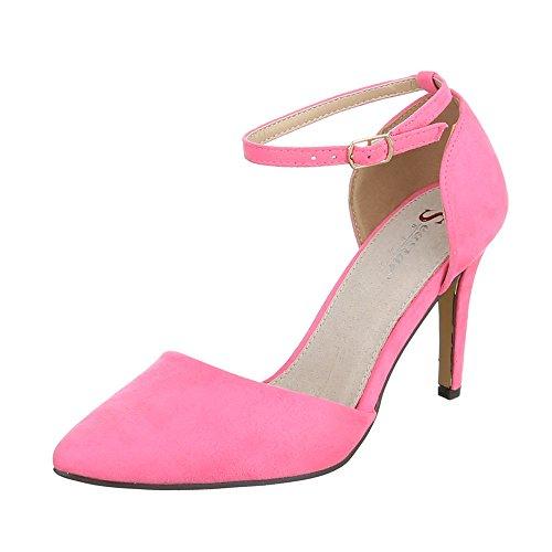 Ital-Design High Heel Damen-Schuhe Plateau Pfennig-/Stilettoabsatz High Heels Schnalle Pumps Rosa, Gr 36, Sy02P-3-