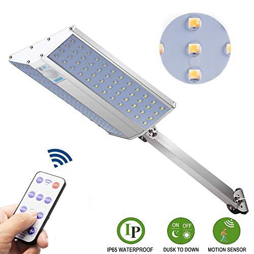 LED-Straßenlaterne im Freien, 96 LEDs 10W 15000 Lumen Solar Straßenlampe mit Fernbedienung,6 Modi+ 4 Helligkeitsstufen, IP65 Solarleuchten Bewegungsmelder,Dawn Automatische EIN/Aus,Whitelight