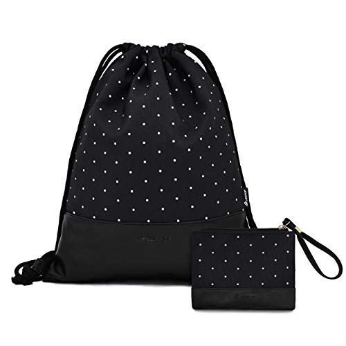 Leapop, sacca sportiva Hipster con portamonete, sacca da palestra in tela stampata con tasca interna e portachiavi, Adulti (unisex), Nero , Taglia unica