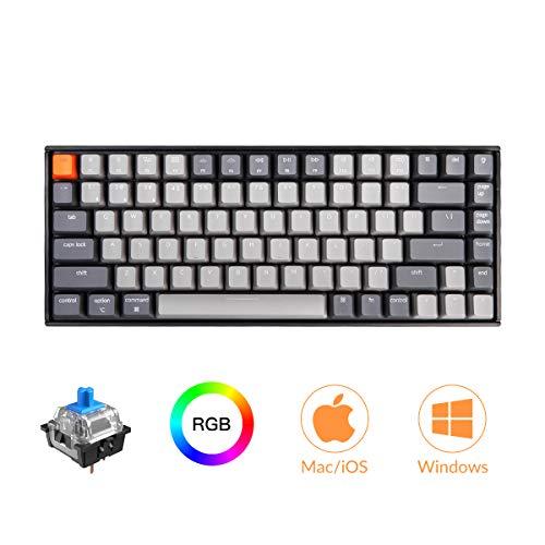Keychron K2 Bluetooth Mechanical Keyboard with Gateron Blue Switch/RGB LED Backlit/USB C/Anti Ghosting/N-Key Rollover/Compact Design, 84 Key Wireless TenkeylessKeyboard for Mac Windows