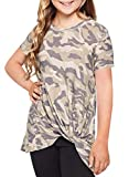 Blibea Girls Casual Short Sleeve Tops Blouse Floral Print Cute T Shirts Birthday Shirt Fashion Outfits Size 10-11 Green