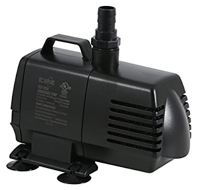 EcoPlus HGC728320 Eco 1056 Fixed Flow Submersible Or Inline Water Pump 1083 GPH, Black