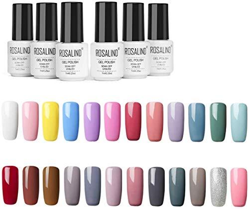 ROSALIND 24PCS UV Gel Nagellack Soak Off UV LED Nagellack Kit,Mehrfache Farben Naked Color Nagelgel Set 7ml (03)