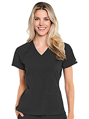 Med Couture Peaches Women's Raglan Top, Black, X-Large