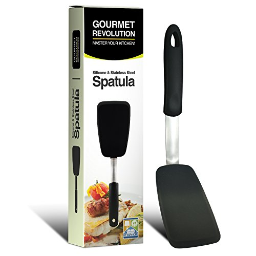 Spatula Silicone Turner - Nonstick, Heat Resistant, Stainless Steel and Large - Best for Cooking, Flipping, Baking, Sauteing and Pressing