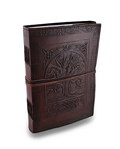 Vintage Large 10 inch Tree of Life Leather Cover Blank Book Spell Book Drawing Sketch Book Christmas Gift for Men & Women