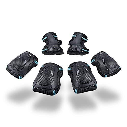 Schutzausrüstung Set für Jugendliche Erwachsene Schoner Set mit Handgelenkschoner Knieschoner Ellenbogenschoner Schützer Set für Junge Mädchen Damen Herren Protektoren Set für Skateboard Roller L