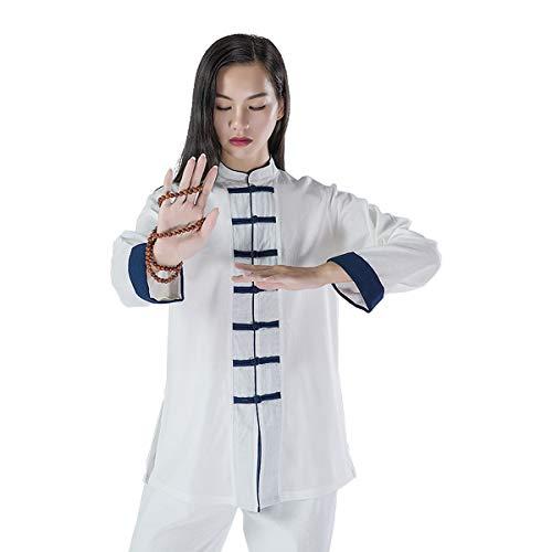 KSUA Uniforme per Le Arti Marziali delle Donne Vestito di Tai Chi Abbigliamento Kung Fu Cinese Abiti di Cotone Wing Chun Meditazione Zen, Bianco EU L/Etichetta XL