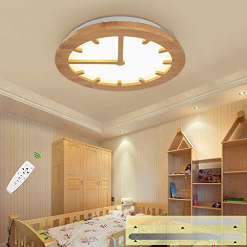 LED houten plafondlamp kinderkamer plafondlamp dimbaar creatief rond wandklok vorm plafondverlichting voor woonkamer leren slaapkamer eetkamer kantoor lamp plafond licht houten lamp incl. afstandsbediening 36 W