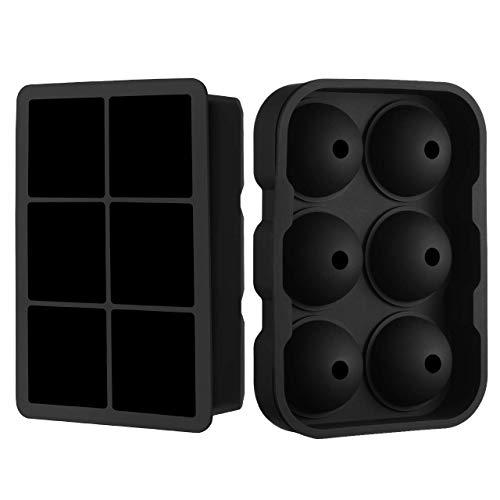TOPELEK Eiswürfelform 6-Fach, 45mm groß Eiswürfel, Kugel & Quadrat Eiswürfel Form Silikon, 2 Stück Eiswürfel Form, BPA Frei Ice Cube Tray Eiswürfelbehälter für Bier, Cocktails und Whisky