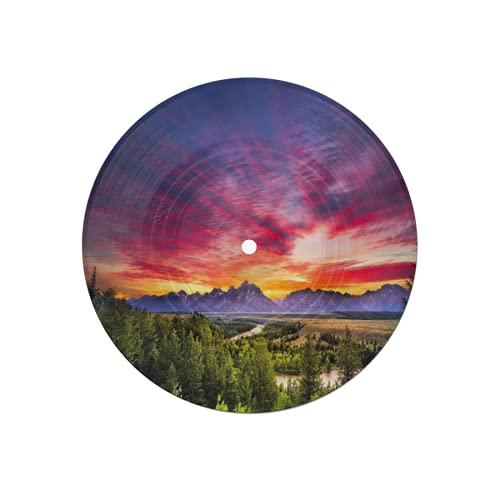 Posavasos de Disco para Bebidas,Colorida Puesta de Sol en el Mirador del río Snake en el Parque Nacional Grand Teton,6 Piezas de Posavasos de Disco absorbentes de Escritorio de protección efectiva
