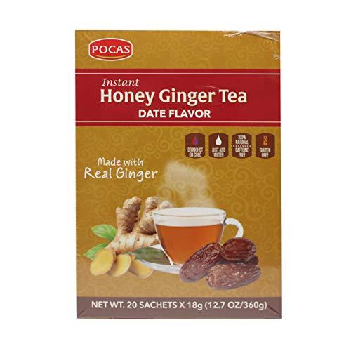 Pocas Honey Ginger Tea, Date, 12.7 Ounce, 20 Bags (Pack of 2)