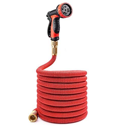 Manguera de jardín extensible flexible, tubería con conector de latón y pistola de riego por aspersión de 10 funciones, para lavado de embarcaciones para mascotas de césped 50 pies rojo-rojo_100 pies