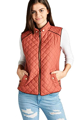 Hollywood Star Fashion Dames Women's gewatteerde polster vest met suède paspel (Small, Soft Pink)