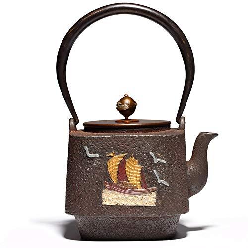 Estilo japonés Tetera Tetera de hierro fundido hecha a mano hecha a mano sin recubrimiento hervida y té hervido hierro Pot té de la salud Equipo Producción de Hierro Viejo Pot 23x12x9cm Tetera de hier
