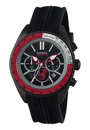 Armbanduhr BREIL Mann Abarth quadrante schwarz e uhrarmband in silikon schwarz-rot, Werk Chrono QUARZUHR
