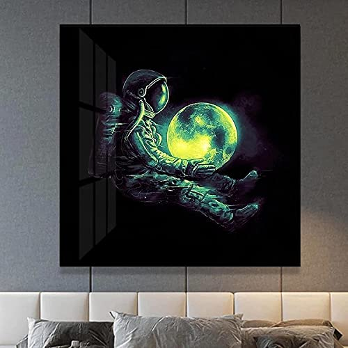 Arte de pared 50x50 cm sin marco divertido arte astronauta jugando en el espacio medusas carteles e impresiones decoración de la sala de estar cuadro de arte de pared