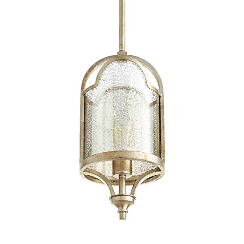 Quorum Lighting 3003-60, Lucca Cylinder Pendant, 1 Light, 75 Total Watts, Aged Silver Leaf