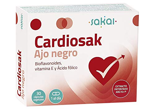 Sakai - Cardiosak Ajo Negro - Regula la función cardiovascular - Triglicéridos - Tensión arterial - Colesterol - ABG10+, Bioflavonoides, Vitamina E y Ácido Fólico - Sin olor - Sin sabor