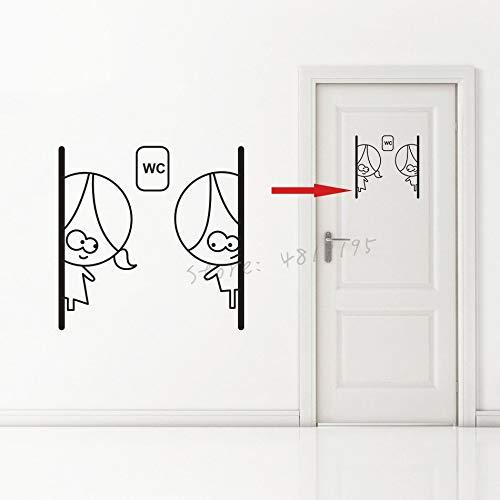 ASFGA Cartoon niedlich WC Logo Vinyl Wandtattoo Toilette Badezimmer Tür Aufkleber Mädchen und Junge Toilette abnehmbare Wanddekoration 40x40cm