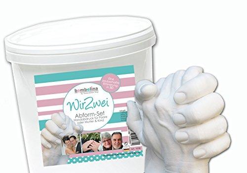 Bambelina® Handabdruck Set für Paare, Geschwister oder Familien. 3D Gipsabdruck Set mit hochwertigen, natürlichen Materialien. Deutsches Produkt – tausende zufriedene Kunden