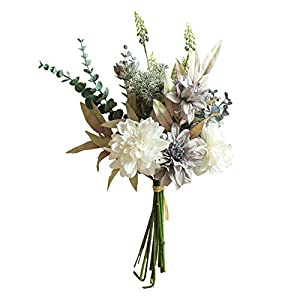 Artificial Flowers,Fake Plants Faux Plastic Fake Plants Wedding,1 Bouquet Artificial Flower Silk Fake Dahlia Wedding Garden Party Decoration – White Blue