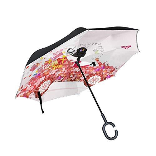 Double Layer Inverted Umbrella Winddichte Regensonnen-Regenschirme im Freien mit C-förmigem Griff - Blumengeschenk für Mädchen-Blumenautos