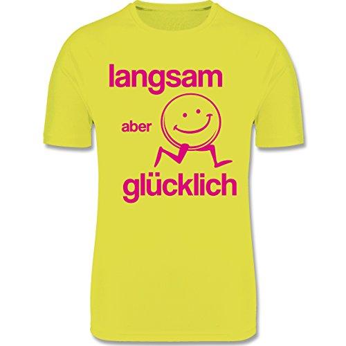 Sport Kind - Langsam Aber glücklich - 140 (9/11 Jahre) - Neon Gelb - mädchen Funktionsshirt - F350K - atmungsaktives Laufshirt/Funktionsshirt für Mädchen und Jungen