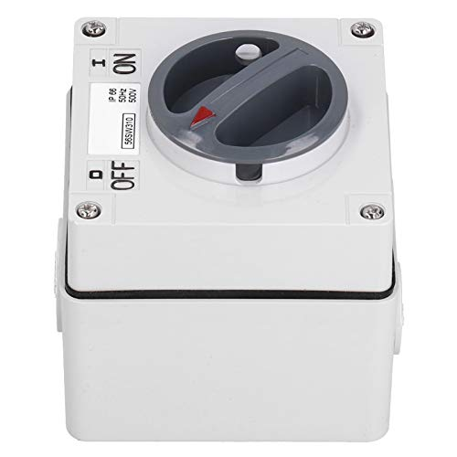 Interruptor a prueba de agua 500V Interruptor de encendido y apagado del aislador de energía para exteriores Toma de interruptor de control giratorio a prueba de polvo con accesorios(3P40A)