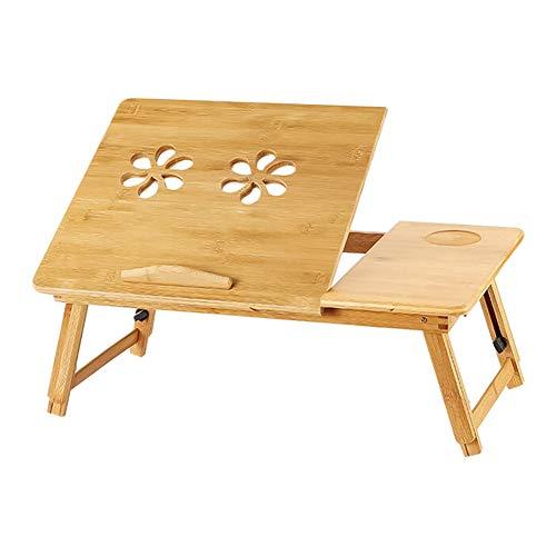 Laptop mesa bambú Altura ajustable leset isch escritorio comedor con cajón antideslizante cama mesa Laptop Bandeja Rodillera mesa Ordenador Mesa para sofá cama Suelo Lectura trabajar Desayuno