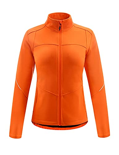 BALEAF Women's Windproof Thermal Cycling Jacket Water Resistant Running Ski Jackets Winter Cold Weather Softshell Warm Orange S