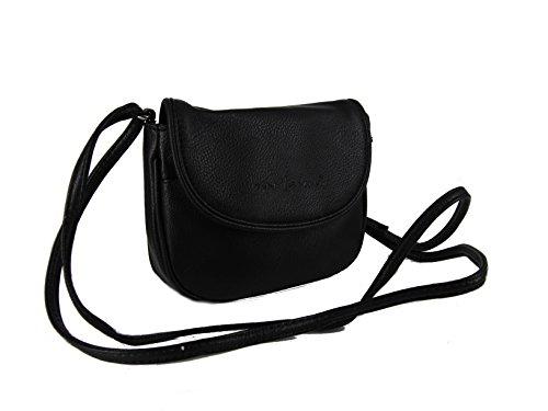 Kleine Damen Handtasche Umhängetasche Ausgehtasche in verschiedenen Farben --präsentiert von RabamtaGO®-- (schwarz)