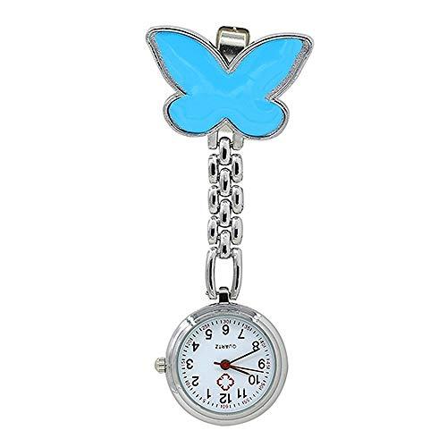 XVCHQIN Mujeres Lindo Colgante Mariposa Enfermera Broche Cuarzo Colgante Reloj de Bolsillo Enfermera señoras Doctor, Azul