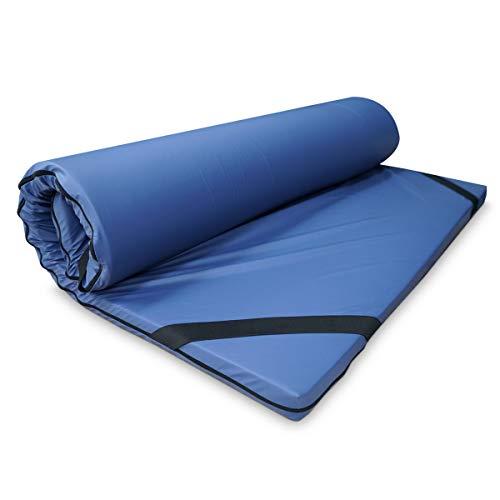 Duérmete Online Topper Colchón Viscoelástico Blue 5cm Grosor, Tejido Impermeable, Ingnífugo y Transpirable, Antiácaros y Antibacterias, Efecto Antiestrés, Azul, 80 x 180