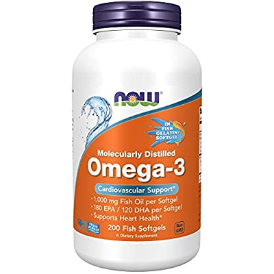 NOW Supplements, Omega-3 180 EPA / 120 DHA, Molecularly Distilled, Cardiovascular Support*, 200-Fish Gelatin Softgels