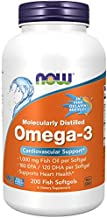 NOW Foods NOW Supplements, Omega-3 180 EPA / 120 DHA, Molecularly Distilled, Cardiovascular Support*, 200-Fish Gelatin Softgels
