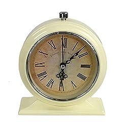 GMMH Table Clock Nostalgia Antique Vintage Retro Metal Grandfather Clock–Deco Alarm Clock in Alarm Design (Cream 54–7)