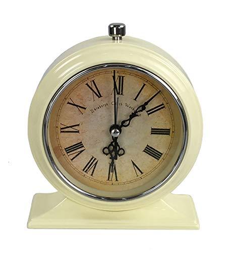 Tafelklok nostalgie antiek vintage retro metalen staande klok decoratieve wekker klok in wekker design (crème 54-7)