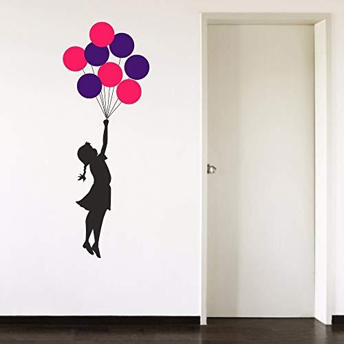 ASFGA Comic Banksy Mädchen Ausweichen Realität Bunte Fliegende Ballon Mädchen Kind Wohnzimmer Schlafzimmer Familie Aufkleber entfernbare Vinyl Wandkunst Aufkleber 42 cm x 117 cm