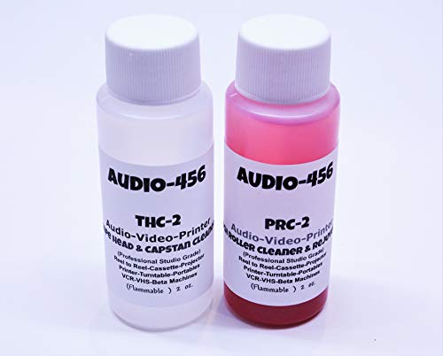 Audio 456 THPR-2 (1) 2 oz Audio 456 Audio/Video Tape Head Capstan Cleaner Fluid & (1) 2 oz Audio 456 Audio Video Pinch Roller Cleaner Rejuvenator Fluid (Prior SR-Audio) Reel to Reel+Cassette+Printers